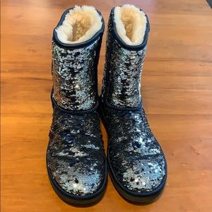 Blue Sequined Ugg boots
